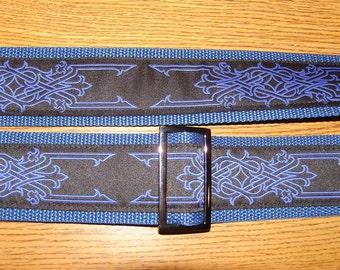 Celtic Ironwork Embroidered Trim Guitar Strap, Royal on Black