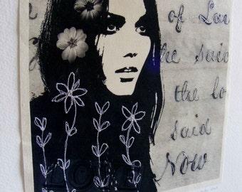 Textile art, stitched - Said Now - Decorative wall art