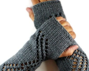 Knit Fingerless Gloves Gauntlets Grey Lace Gloves Fall Fashion Winter Accessories Warm Gloves Winter Gloves Driving Gloves Womens Gloves