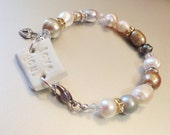 Love You Freshwater Pearl, Swarovski Crystal, and Sterling Silver Bracelet, Valentines Day, Womens Jewelry