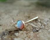Stud Earring Gold Opal Gem SINGLE Opal Post/Fire Opal Post/Tragus Post/Anti Tragus Post.Helix Post/Anti Tragus Post/Cartilage Post/Fire Opal