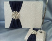 Navy Ivory Lace Wedding Guest Book and Pen Set Ivory Bridal Lace Pearl Rhinestone Accent Unique Latte