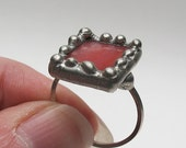 Sea Coral - Sterling Silver Stained Glass Ring - Size 8