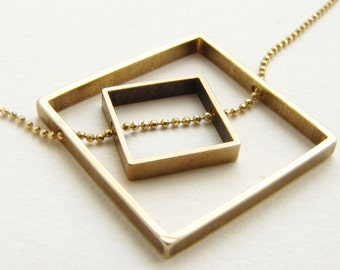 Square statement necklace, Geometric square necklace, brass jewelry, abstract statement necklace