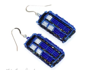 Blue Beaded British Police Box bead embroidery dangly sterling silver drop earrings (Made to Order)