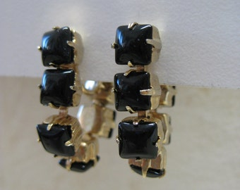 Black Gold Dangle Earrings Screw Glass Vintage