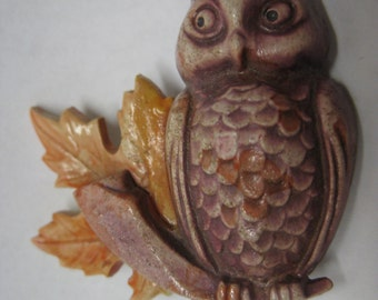 Owl Bird Maple Leaf Brooch Brown Plastic Vintage Pin