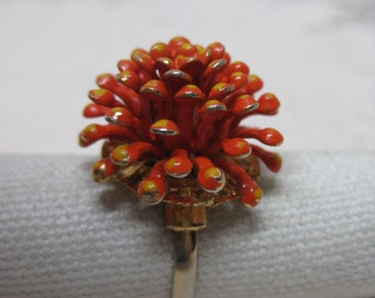 Flower Orange Ring Gold Enamel Vintage Adjustable