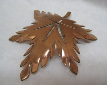 Copper Leaf Brooch Vintage Pin