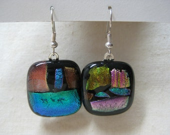 Dichroic Glass Green Pink Gold Black Earrings Pierced Wire Vintage