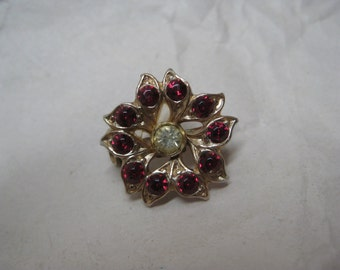 Flower Red Clear Gold Brooch Rhinestone Vintage Pin