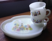 Charming Vintage Luncheon Plate & Cup Sets (3) Super Condition