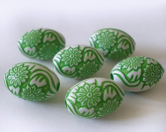16x10mm Spring Green White etched floral acrylic bead - 8pcs