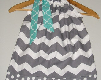 Gray  Dress white TEAL  Chevron Pillowcase dress available in size 3, 6,9,12,18 months 2t,3t,4t,5t,6,7,8,10,12