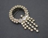 Vintage Rhinestone Brooch Deco Style Tassel Jewelry X112
