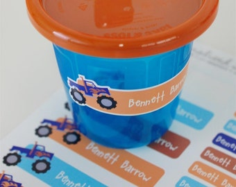 42 personalized monster truck labels | dishwasher safe, waterproof stickers | money back guarantee