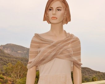 Beige and Cream knit stripes Mobius Infinity wrap shawl capelet tan ivory white brown neutrals