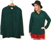 Emerald Green Blouse - Womens Button Up Shirt - Green Collared Shirt