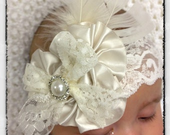 Newborn, girl & lady  white or ivory flower girl baptism christening bridal lace vintage headband