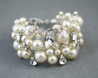 Bridal Bracelets,Ivory Pearls Wedding Bracelets, Rhinestone Pearls Wedding Jewelry,  Swarovski Pearls Bracelet, Wedding Jewelry for Brides