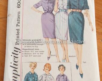 Simplicity Vintage Pattern - Bust 34 Sz 14  Dress in Short Medium Tall Complete 1960's