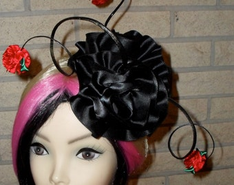 Sale was 48.00 Now 24.00 Cocktail Hat By Taissa Lada,Black Satin Roses,Red Roses,Cocktail Hat,Surrealism,Old Hollywood,Bridal Headpiece,Goth