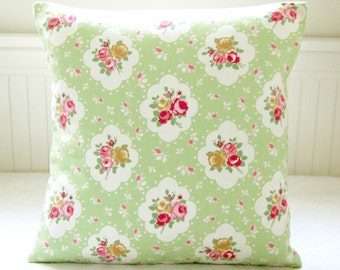vintage shabby cottage style apple green, pink roses cushion cover, flower pillow cover 14 inch