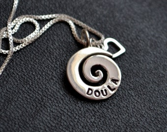 Doula Heart Necklace Sterling Silver