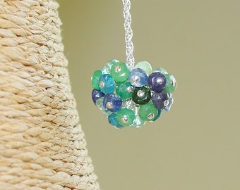 Blue Gemstone Pom Pom Necklace / Aquamarine / Apetite / Aventurine / Topaz / Chrysoprase / Onyx / Iolite / Kyanite / Sapphire / Tanzanite