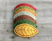 Embroidered Felt Leaf Hair Clips,  Choose 3 Leaves to Customize Leaf Pile, Handmade by OrdinaryMommy on Etsy