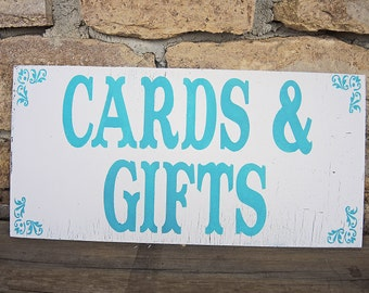 CARDS and GIFTS TABLE sign, 12x6 Self-Standing, Gift and Card Table Wedding, Baby Shower, Birthdays