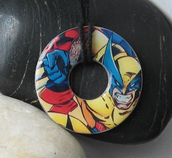 X-Men WOLVERINE Vintage Upcycled Comic Book Washer Hardware Pendant Necklace Marvel Comics