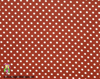 Knit little red small dots small dots on lime green made in USA 1 yard cotton with lycra.Great quality