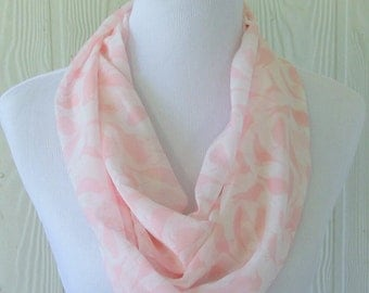 Infinity Scarf, Pink and White, Bird Motif, Women's Chiffon Scarf,  Circle Scarf, Loop Scarf, Tube Scarf, Women's Scarves, Eclectasie