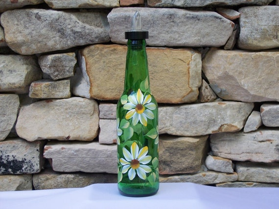 Hand Painted Green Bottle with Yellow Daisies and Free Flowing Spout