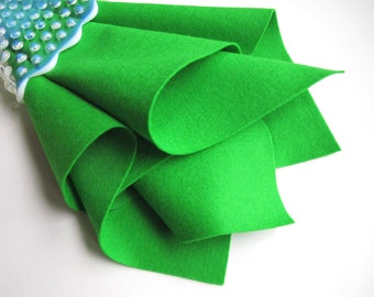 Sprout, Bright Green Felt, Wool Felt Square, 100% Wool, Choose Size, Die Cutting, Felt Flowers, Wool Applique, Waldorf Handwork, Toxin Free