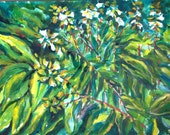 Original Watercolor Painting 14x20 -Hostas in the Garden painted en plain air, on site in nature