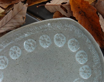 Stamped Pottery Platter Tray -Footed Serving Dish, Handmade One Of A Kind