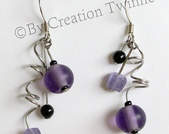 purple and black earrings, spiral earrings, bridesmaids earrings gift, funky jewelry,modern asymmetrical earrings,unique design,gift for her