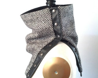 Cowl, scarf  black and white wool