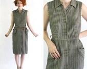 vintage 1940s gray stripe dress / 40s grey seersucker dress