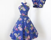 vintage 1950's dress ...fabulous BASILA periwinkle novelty floral CONVERTIBLE HALTER full skirt pin-up dress & bolero jacket