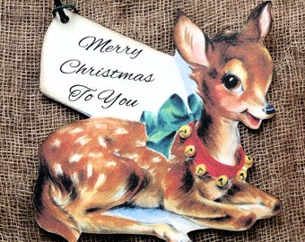 Retro Reindeer Merry Christmas Gift or Scrapbook Tags #224