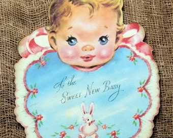 Retro Sweet New Baby Bib Shower Favor Gift or Scrapbook Tags #254