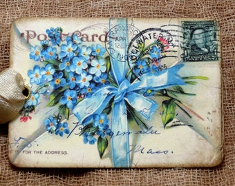 Blue Forget Me Not Postcard Tags #362