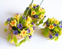 Miniature Polymer Clay Flowers Supplies Hanging Pot, Daffodil for Dollhouse 1 pcs