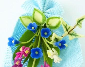 Miniature Polymer Clay Flowers Supplies Iris Bouquet 1 piece