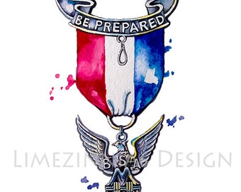 Watercolor Eagle Scout Art Print-Boy Scouts Gift-Eagle Scout Gift