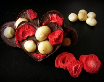 4 Raw heart shaped chocolates with strawberries and macadamia nuts