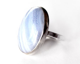 Blue Lace Agate Statement Ring - Blue Sterling Silver Ring 925 - Custom Stones and Colors Available - 925 - 18x25mm